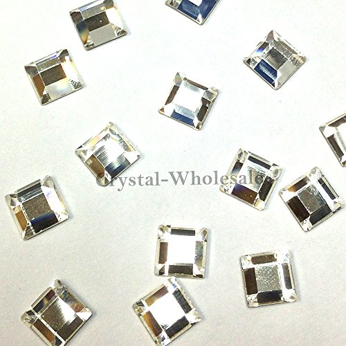CRYSTAL (001) clear Swarovski 2400 Square - 4mm Flatbacks No Hotfix Rhinestones 24 pcs *FREE Shipping from Mychobos (Crystal-Wholesale)* - Swarovski Genuine Necklace