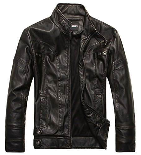 chouyatou Men's Vintage Stand Collar Pu Leather Jacket (X-Large, DZQM769-Black)