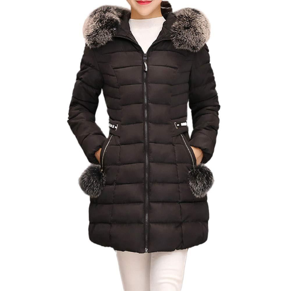 WM /& MW Fashion Womens Long Coat Winter Warm Thick Fur Hooded Overcoat Slim Cotton Down Jacket Outwear