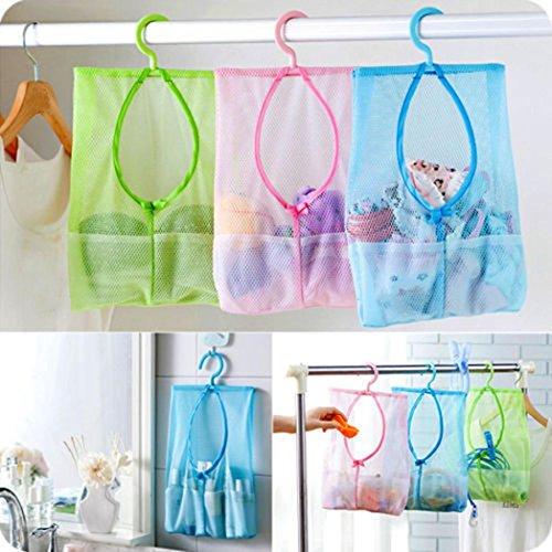 Bathroom Storage Clothespin Mesh Bag Hooks Hanging Bag Organizer Shower Bath New (Pink)