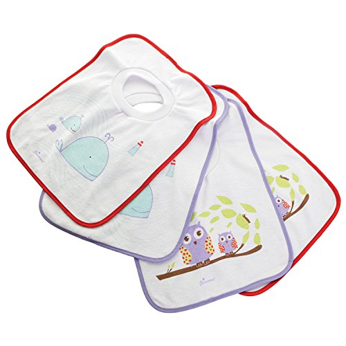 Dreambaby Pullover Bibs,Owls and Whales, 4-Count (Towel Baby Bibs)