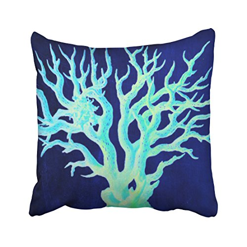 Accrocn Square Throw Pillow Covers Retro Nautical Coastal Chic Beachy Navy Coral Reef Decorative Pillowcases Polyester 18 X 18 Inch With Hidden Zipper Home Sofa Cushion Decorative Pillowcase (Beachy Couch)