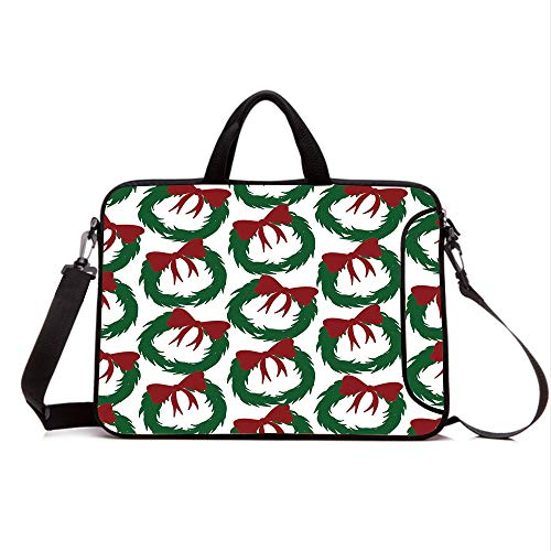 "15"" Neoprene Laptop Bag Sleeve with Handle,Adjustable Shoulder Strap & External Side Pocket,Geometric,Leaves Ribbon Design Sacred Traditions of Christmas Seasonal Ornate Motif,Green Ruby White"