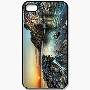 Protective Case Back Cover For iPhone 4 4S Case Coast Rocks Stones Sea Water Home Black