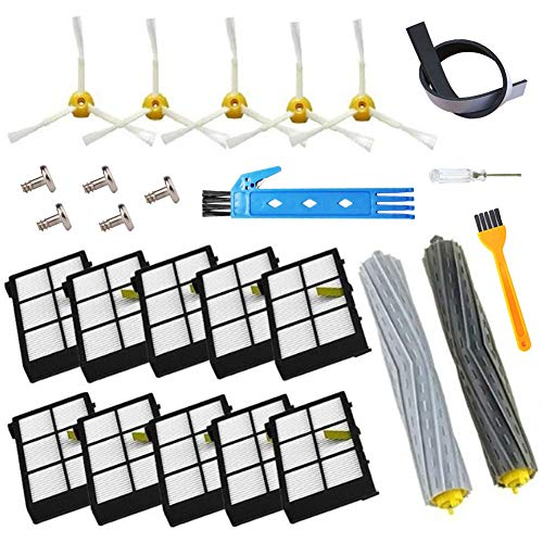 Theresa Hay Replacement Accessory Kit for iRobot Roomba 800 900 Series 890 860 880 870 980 960 Vacuum Accessories,with 2 Set Extractors 10 Filters 10 Side Brushes 5 Screws 1 Cleaning Tool (24pcs)