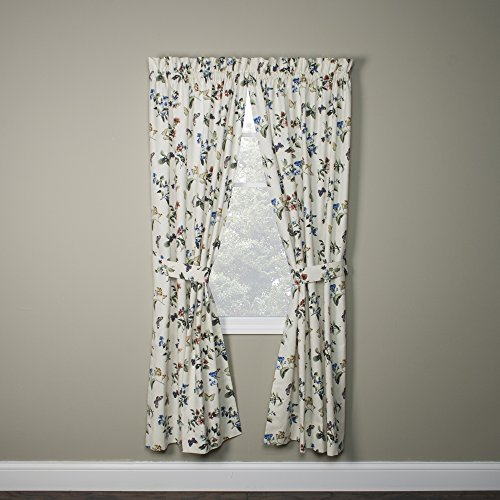 Audrey Floral Print Tailored Panels Curtains Pair 68-Inch-by-54-Inch With Tie Backs For Sale