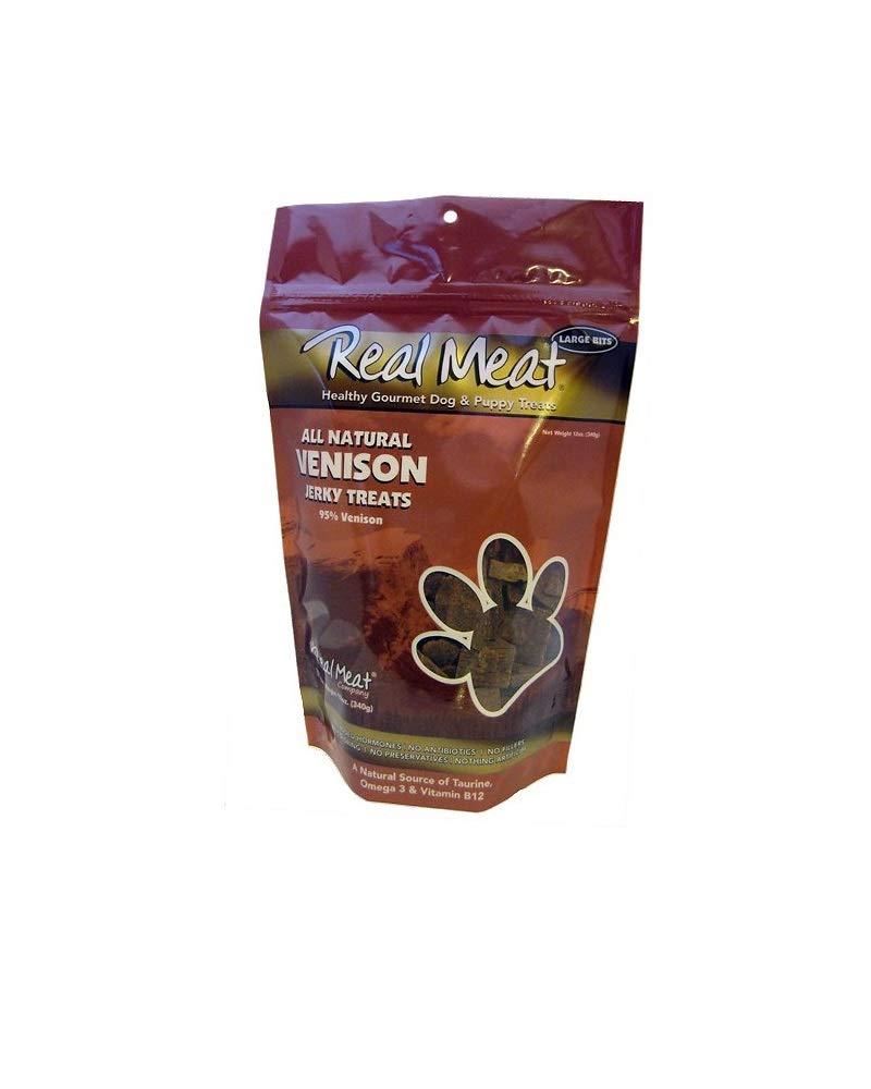 THE REAL MEAT COMPANY 828016 Dog Jerky Venison Treat, 12-Ounce