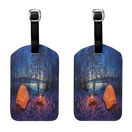 Travel ID Bag Tag Forest,Dark Night Camping Tent Photo in the Winter on the Snow Covered Lands by the Lake, Blue Orange Perfect to Quickly Spot