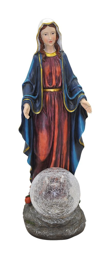 Moonrays 91365 Mary Garden Statue with Crackle Globe and Solar Powered White LED
