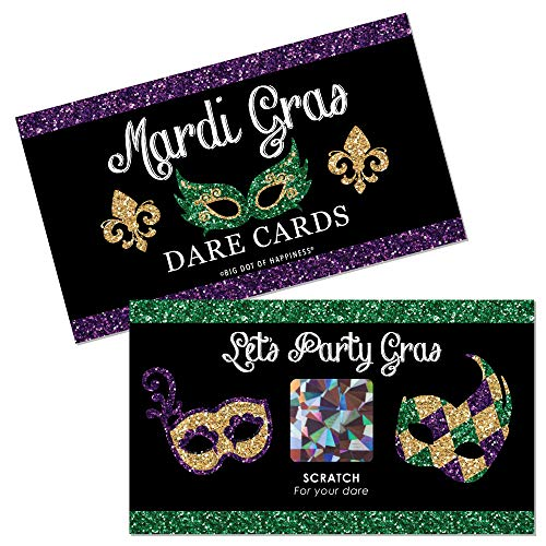 Big Dot of Happiness Mardi Gras - Masquerade Party Game Scratch Off Dare Cards - 22 Count
