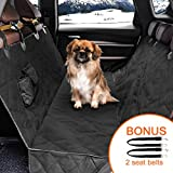 "MiaoWow Dog car Seat Covers of Back Seat Cars/Trucks/SUV-Universal Size 58"" x 54"", Waterproof,Hammock Style,Side Flaps, Non-slip, 2 Pockets, Machine Washable Pet Car Seat Protection - Bonus 2 Seat Belts"