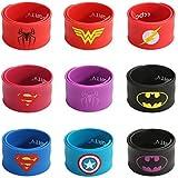 Ecparty Superhero Slap Bracelet for Kids Boys & Girls Birthday Party Supplies Favors (9 pack) (Mixhero) (Mix Superheroes)
