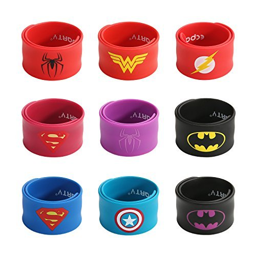 Ecparty Superhero Slap Bracelet for Kids Boys & Girls Birthday Party Supplies Favors (9 pack) (Kids Parties Supplies)