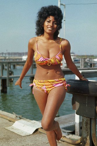 Pam Grier Sexy busty pin up glamour pose barefoot bikini 1970's 24x36 Poster from Silverscreen