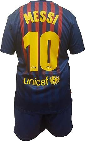 74743f7023 Conjunto Equipacion Camiseta PantalonesFutbol Barcelona Lionel Messi 10  Replica Autorizado 2018-2019 Niños (2