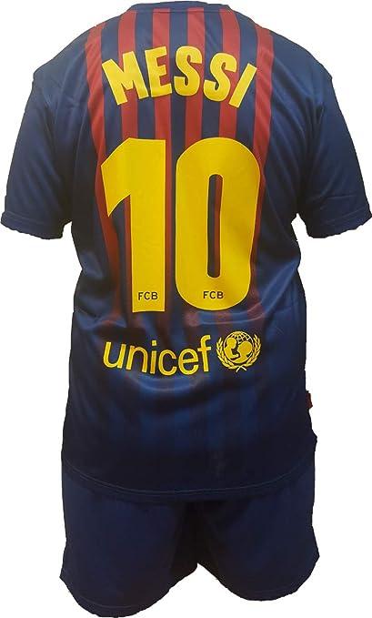 73f864b641bf8 Conjunto Equipacion Camiseta PantalonesFutbol Barcelona Lionel Messi 10  Replica Autorizado 2018-2019 Niños (2