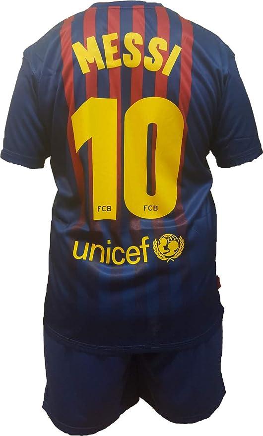 Conjunto Equipacion Camiseta PantalonesFutbol Barcelona Lionel Messi 10 Replica Autorizado 2018-2019 Niños (2
