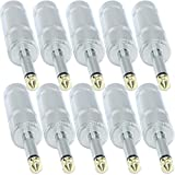 10 Pack: Jumbo 1/4'' Male Mono Speaker Cable Connector