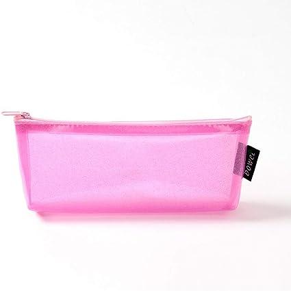 Estuches Rosa Láser Transparente Caja de Lápices de PVC Kawaii bolso de la muchacha linda caja grande de la pluma kawai Pencilcase escuela: Amazon.es: Oficina y papelería
