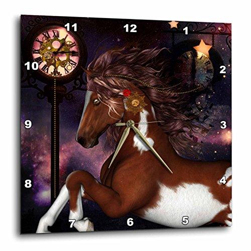 3dRose Heike Köhnen Design Animal Horse – Wonderful Wild Horse, Steampunk Elements – Wall Clocks