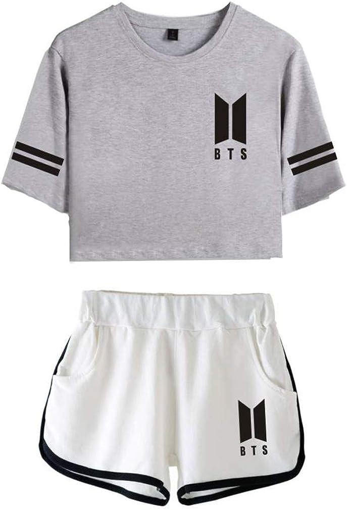 Leslady Chandales Deportiva Con Impresa Tear De Bts Camiseta Y Pantalones Cortos Para Mujer Conjuntos Deportivos