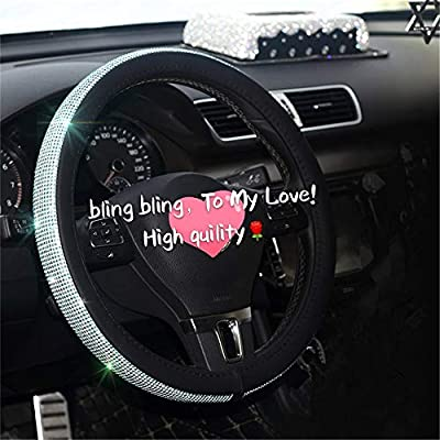 Diamond Crystal Steering wheel Cover for Women - Universal automotive diamond car accessories, Bling Bling Crystal Rhinestone Steering Wheel Cover for Girls Birthday Gifts Blue 15 Inch (38mm) …: Automotive