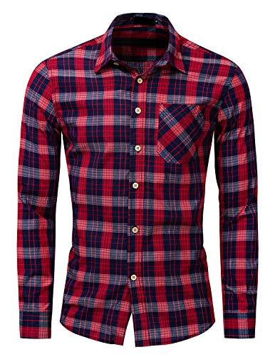 FRTCV Mens Plaid Button Down Shirts Long Sleeve Dress Shirts FM198 Red Tag L/US S