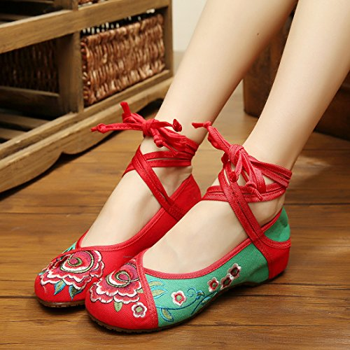 YIBLBOX Women's Traditional Lace Up Strap Flats Shoes Rubber Sole Strappy Small Flower Embroidery Dress Shoes Casual Walking Shoes Green LBFprL
