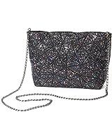HotOne Geometric purse PU leather chain crossbody purse clutch purses for women (Starry-Black)