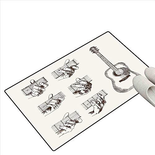 Guitar Bath Mats Carpet Sketch Art Style Instrument and Chords Acoustic Flamenco Technique Skill Talent Kids Carpet Playmat Rug 32