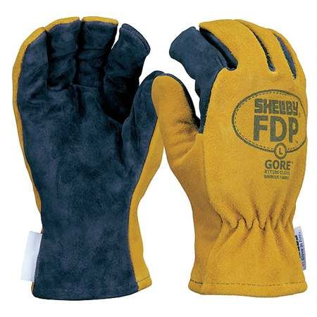 Shelby FDP 5226 Structural Firefighters Gloves, Size L, Pigskin Leather with Breathable Gore Technology