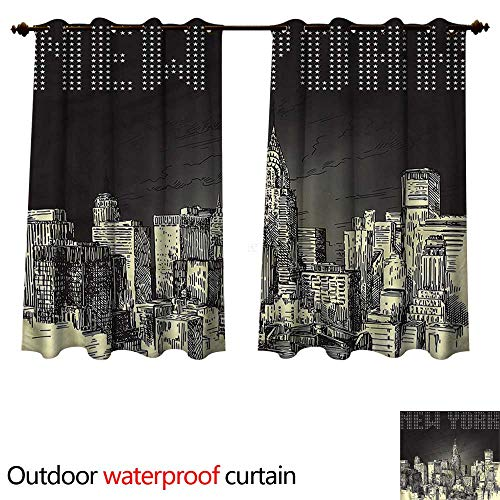 cobeDecor New York Outdoor Curtain for Patio Grunge Empire State NYC W63 x L63(160cm x 160cm) -