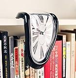 【ノーブランド品】アートウォールクロックアメリカン雑貨 デザイン面白おもしろアンティーク ダリの柔らかい時計 インテリア置き時 90度曲がったアートクロック(ブラック)