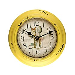 Deco De Ville Antique Vintage Retro Decorative European Design Creative Metal Round Wall Clock, Yellow