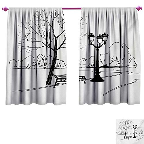 Tree Decor Curtains by Urban Life Escape Zone for Peace and Serenity in Park with Trees and Bench Artprint Room Darkening Wide Curtains W84 x L72 Black White ()