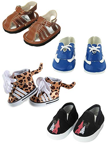 4 Pairs of Doll Shoes for Boys | Doll Shoes Include Sneakers Leather Shoes Sandals Flats Fits 18 Inch American Girl Doll Accessories (18 Inch Doll Black Sandals)