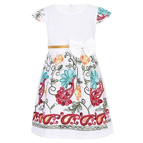 SMILING PINKER Toddler Girls Dress Casual Embroidered Floral Boho Vintage Dresses