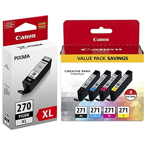 Canon PIXMA MG6821 High Yield Pigment Black with 4-Color (BK/C/M/Y) Ink Cartridge Set NEW ()