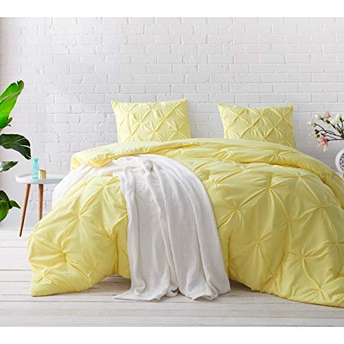 Byourbed BYB Limelight Yellow Pin Tuck Comforter Set Queen (Tuck Bedding Pin)