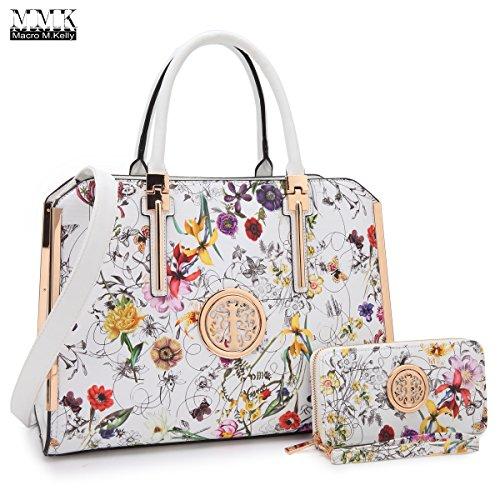 MMK Collection Fashion Pad-lock Satchel handbags with wallet~Designer Purse for Women ~Multi Pocket ~ Perfect Women Purse and wallet~ Beautiful Designer Handbag (Professional Womens Shoulder Pads)