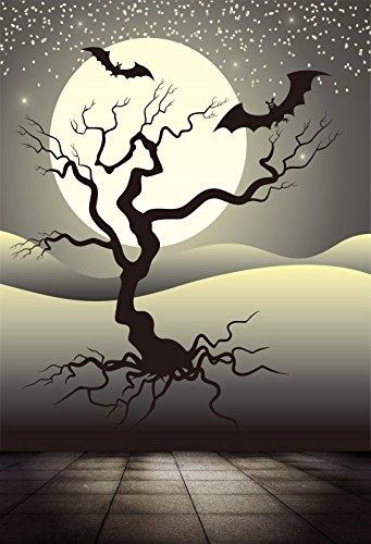 Baocicco Halloween Cartoon Full Moon Background 4x5ft Photography Background Haunted Tree Flying Bats Starry Sky Tile Floor Backdrop Horror Halloween Night Children Trick Or -