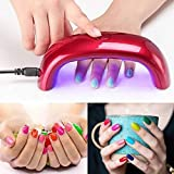 Powerful 9W ULTRA FAST Portable Mini LED CCFL Nail Dryer Curing Lamp Machine UV Gel Nail Polish (Red)