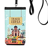 Travel Korea Enjoy Your Stay Faux Leather Smartphone Hanging Purse Black Phone Wallet Gift