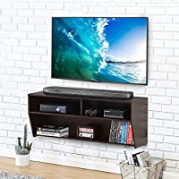 FITUEYES Wall Mounted Audio/Video Console wood grain for xbox one /PS4/ vizio/ Sumsung/sony TV.DS210301WB