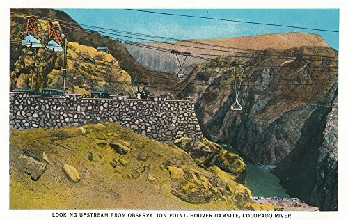 Upstream Framed - Hoover Dam, Nevada - View Upstream from Observation Point, Colorado River (36x54 Giclee Gallery Print, Wall Decor Travel Poster)