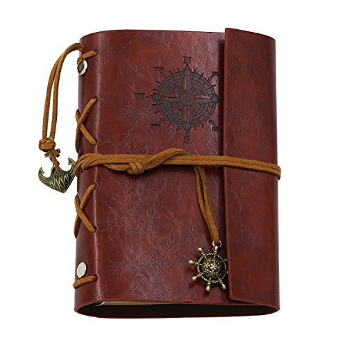 Vintage Leather Cover Journal Diary String Nautical (Red) - 6