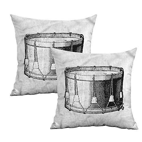(Khaki home Snare Drum Square Kids Pillowcase Vintage Style Art Melody Square Pillowcase Covers Cushion Cases Pillowcases for Sofa Bedroom Car W 14
