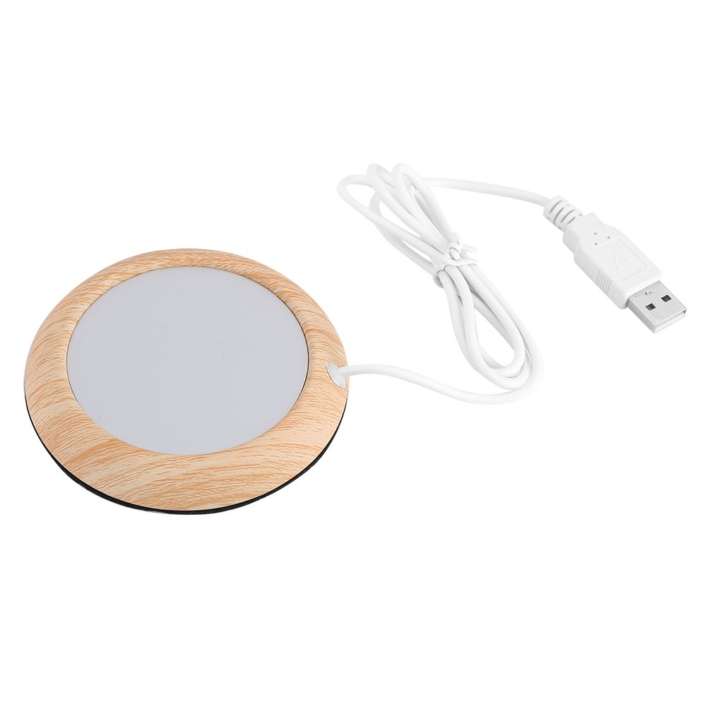 Creative USB Wood Insulation Grain Cup Heat Beverage Mug Mat Warmer Office Tea Milk Coffee Felt Heater Pad Coaster(Bright Wooden Grain)
