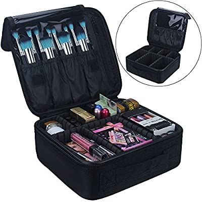 Travel Makeup Train Case Makeup Cosmetic Case Organizer Portable Artist Storage Bag 10.3'' with Adjustable Dividers for Cosmetics Makeup Brushes Toiletry Jewelry Digital