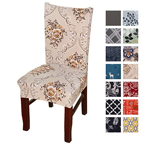 Printed Dining Chair Slipcovers, Removable Washable Soft Spandex Stretch Chair Covers Banquet Chair Seat Protector Slipcover for Kitchen Home Hotel (Set of 4, Gold)